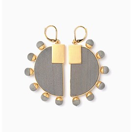mame - Half-Moon Wood Pierced Earrings - black