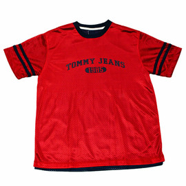 TOMMY HILFIGER - Vintage 90s Tommy Jeans Red/Navy Jersey Shirt Mens Size Large