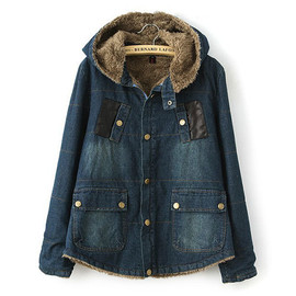 Quilted Splicing Vintage Denim Jacket Thick Padded Coat Hooded Overcoat