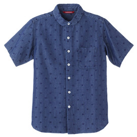 TROPOPAUSE - Dot Embroidery Tencel Denim Short-sleeved Shirt