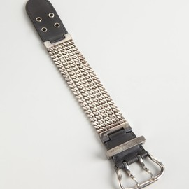 HERMES - Hermes leather and sterling silver curb chain buckle bracelet