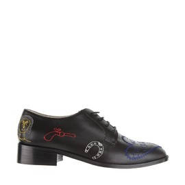 CARVEN - Embroidered calf leather low shoes