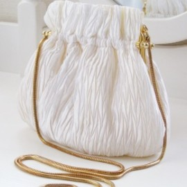 "1980's ""WHITE SILK × GOLD"" Chain Shoulder Bag"