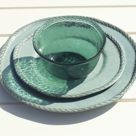 Pottery Barn - Rope Outdoor Dinnerware, Turquoise