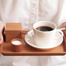 HitonariWorks - Petit Cafe Set. Wood Spoon. Wood Tray. Suger Container. Milk Pitcher