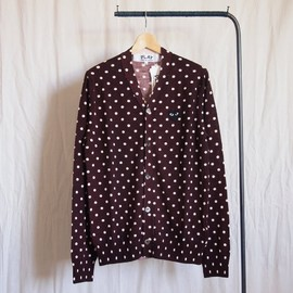 PLAY COMME des GARCONS - Wool天竺水玉Cardigan (黒エンブレム) #burgundy×natural