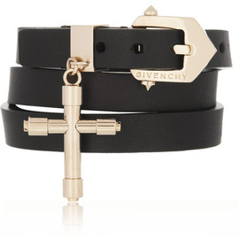 GIVENCHY - Double wrap bracelet in black leather