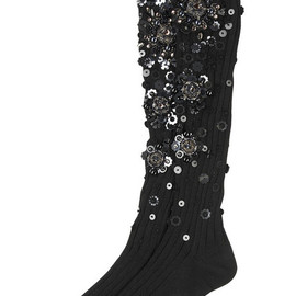 miu miu - Embellished black cotton knee socks