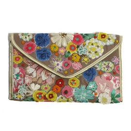 アクセサライズ - Flower Applique Clutch Bag