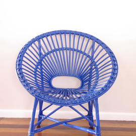 NeonVintageDesign - Upcycled Vintage Cane Saucer Chair - Neon Blue