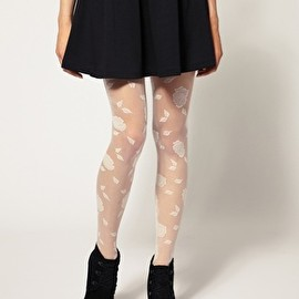 Image 1 of ASOS Flocked Rose Tights