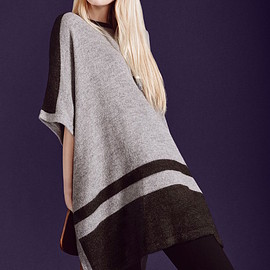 Vince Camuto - Vince Camuto Border Stripe Poncho Style Sweater