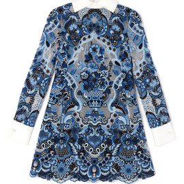 VALENTINO - Long Sleeved A-Line Dress With White Mikado Collar