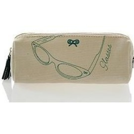 ANYA HINDMARCH - NATURAL CANVAS ZIPPER EYEGLASS CASE