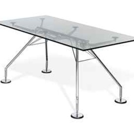 TECNO - A NORMAN FOSTER 'NOMOS' CHROMIUM PLATED AND GLASS TABLE