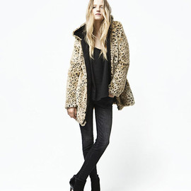 Sexy Leopard Print Long Wollen Fur Zip Jacket Hooded Overcoat