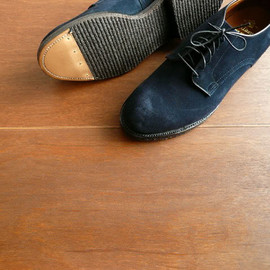 Alden - Plain Toe Oxford - Modified Last Calf Suede Navy