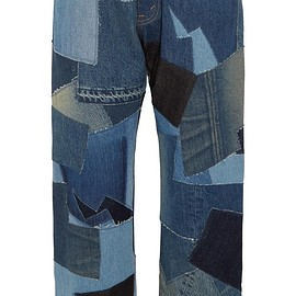 Junya Watanabe - Cropped leather-trimmed patchwork boyfriend jeans
