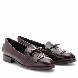 TOD'S - SHINY LEATHER MOCCASIN WITH FRINGE