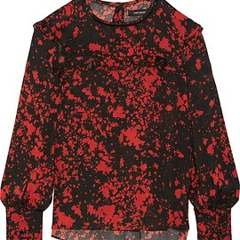 Isabel Marant - Ikara ruffled printed stretch-silk crepe blouse