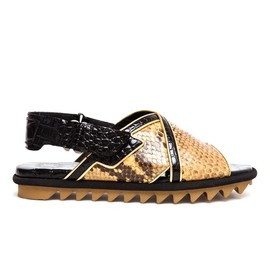 DRIES VAN NOTEN - Python and Crocodile Embossed Leather Sandals