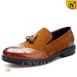 CWMALLS - CWMALLS® Mens Leather Tassel Brogue Loafers CW716041