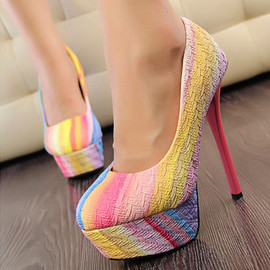 Sexy Elegant Contrast Color Colorful Towering High-heeled Shoes