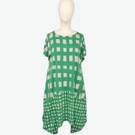TSUMORI CHISATO - cat-s-gingham-check-green-t-dress