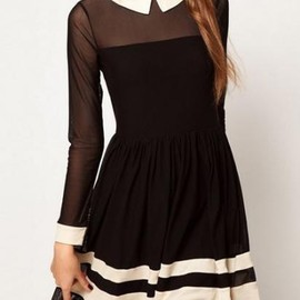 Skater Dress In Mesh With Contrast Detail