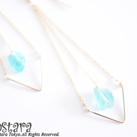 Ostara - 14K Gold Filled Dangle Chevron Earrings /AAA Blue Apatite Naturally Formed