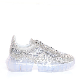JIMMY CHOO - DIAMOND/F Crystal Shimmer Suede Low Top Trainers with Crystal Details