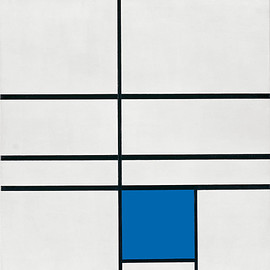Piet Mondrian - Composition with Double Line and Blue
