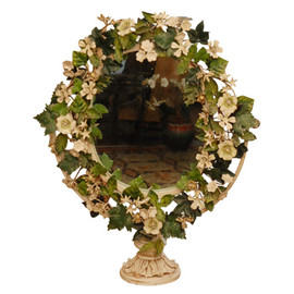 Mary Ann Jones Antiques - Floral Tole Tilt Table Mirror (c. 1930, England)