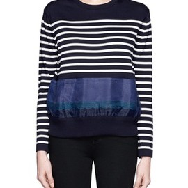 sacai luck - SACAI LUCK Sheer panel stripe sweater