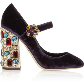 DOLCE&GABBANA - Vally crystal-embellished velvet pumps