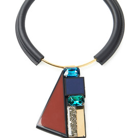 MARNI - Resort2015 Leather Covered Choker With Stone Pendant