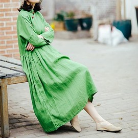 dress - Women Maxi dress, Women's Dresses, Loose Fitting dress, green Dresses for Women