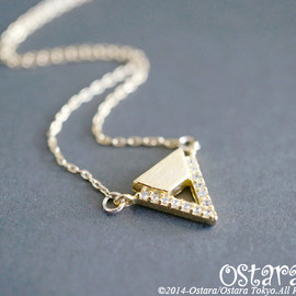 Ostara - 14KGF Necklace/16KGP Mat Gold,CZ Chevron
