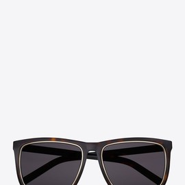 Saint Laurent - SAINT LAURENT SL2 SUNGLASSES IN DARK HAVANA ACETATE WITH GREEN LENSES