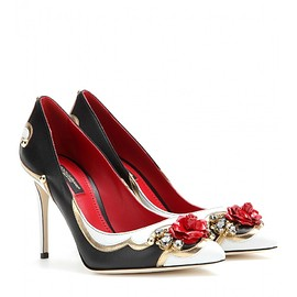 DOLCE&GABBANA - Embellished leather pumps
