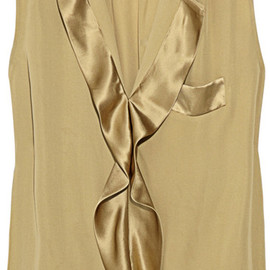 By Malene Birger - Elina Ruffled Silk Blouse in Gold