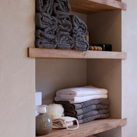Timber bathroom shelves