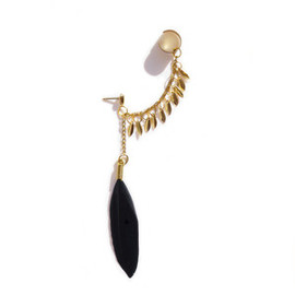 ANNI JURGENSON - Image of NEW! Black feather and teardrop ear cuff (golden)