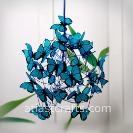 "MatchDelacroix - Lamp with turquoise butterflies ""Feeling Blue"""