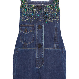 miu miu - Embellished denim playsuit