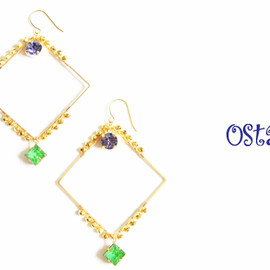 Ostara - 16k Gold Plated Square Earrings/Swarovski Tanzanite&Vintage glass