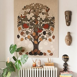 "Sneak Peek: Anders Arhoj. ""The tree is a great vintage print on canvas that I spotted at a big flea market and had an immediate eyegasm right there on the dirty floor. It symbolizes the four changing seasons, and I look at it every day. I never found out who made it but probably some stoned-out hippies in 1973 wearing funny hats and dropping acid while screenprinting. I hope so."" #sneakpeek"