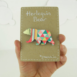 SketchInc - Geometric Bear Brooch Neon 'Harlequin Bear'