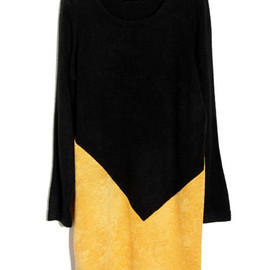 ROMWE - Splicing Slim Longline Yellow Jumper