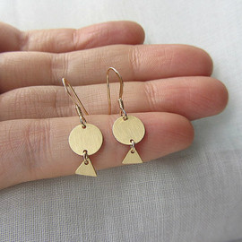 Lunahoo - Circle and triangle geometric round gold dangle earrings.